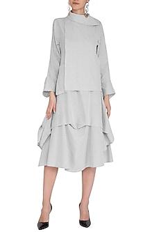 Grey Striped Flap Dress by Aruni
