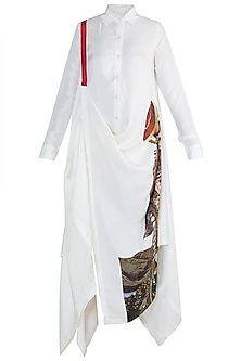 White Draped Shirt Dress by Anamika Khanna