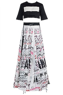 Black & White Top With Printed Skirt & Belt by Anamika Khanna