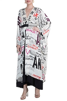 White Printed Kaftan With Nude Skirt & Belt by Anamika Khanna
