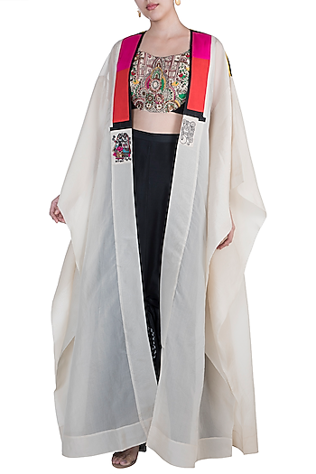Cream & Black Highlighted Top With Drawstring Skirt & Cape by Anamika Khanna