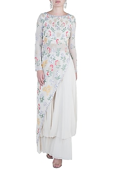 Ivory Embroidered Kurta and Palazzo Pants by Aneesh Agarwaal