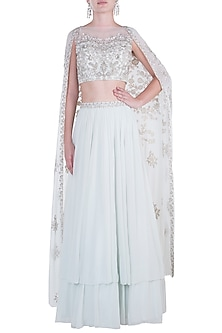 Mint Green Embroidered Crop Top with Lehenga Skirt by Aneesh Agarwaal