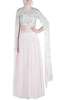 Light Pink Embroidered Crop Top with Lehenga Skirt by Aneesh Agarwaal