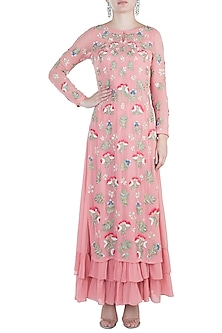 Peach Pink Embroidered Kurta and Palazzo Pants by Aneesh Agarwaal
