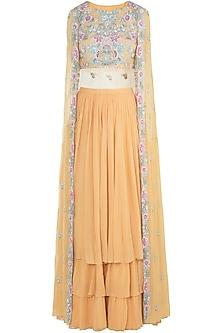 Mango Yellow Embroidered Crop Top with Lehenga Skirt