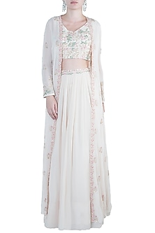 Off White Embroidered Jacket with Blouse and Lehenga Skirt by Aneesh Agarwaal