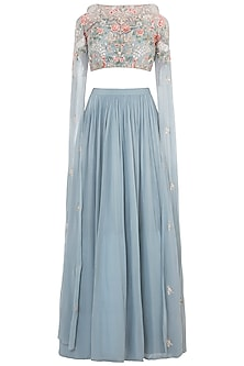 Greyish Blue Embroidered Crop Top with Lehenga Skirt