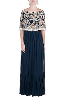 Navy Blue Embroidered Cape Anarkali Gown by Aneesh Agarwaal