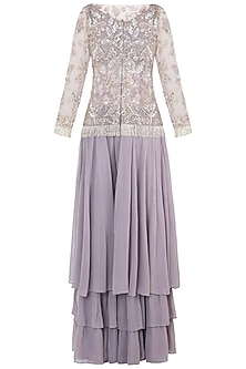 Mauve Embroidered Jacket with Blouse, Palazzo Pants and Dupatta