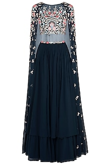 Navy Blue Embroidered Crop Top with Lehenga Skirt