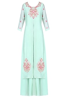 Mint Green and Pink Floral Embroidered Kurta and Palazzo Pants Set