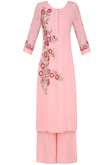 Powder Pink Floral Embroidered Straight Kurta and Palazzo Pants Set