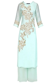 Aqua Blue Floral Embroidered Straight Kurta and Palazzo Pants Set
