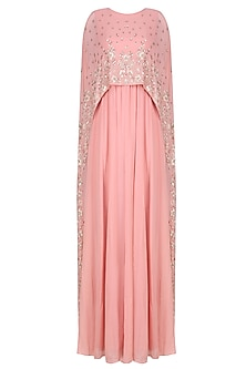 Peach Floral Embroidered Cape Gown