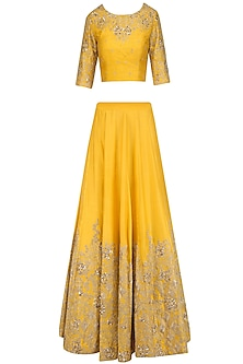 Yellow and Gold Floral Embroidered Lehenga Set