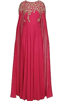 Fuchsia pink embroidered long sleeves cape kurta