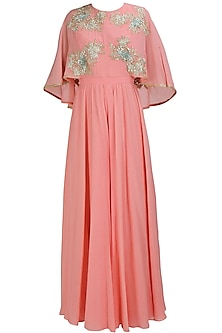 Flamingo pink embroidered cape jumpsuit