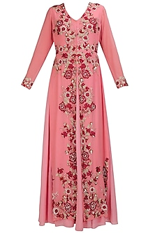 Old rose floral embroidered flap kurta and dupatta