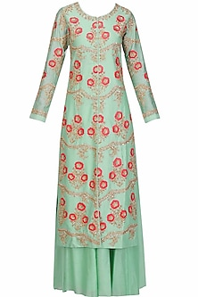 Duck egg green floral embroidered kurta and palazzos set