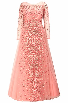 Salmon pink floral embroidered layered gown kurta and dupatta