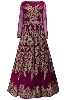 Magenta fully embroidered gown kurta and dupatta