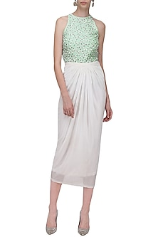 White Pleated Midi Skirt by Anand Bhushan