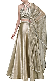 Gold Embroidered Bustier with Lehenga Skirt Set by Anand Bhushan