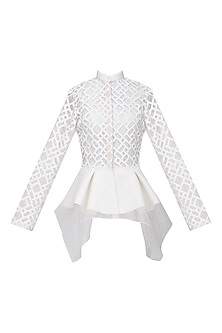 White Front Open Peplum Jacket