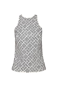 White and Black Embroidered Top by Anand Bhushan