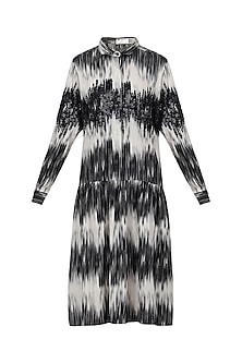 White and Black Embroidered Midi Dress by Anand Bhushan