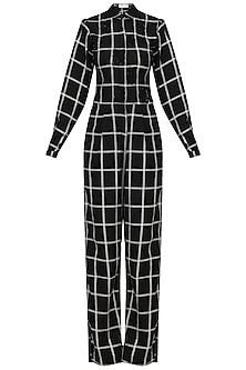 Black and White Checked Sequins Jumpsuit