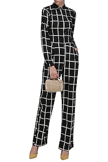 Black and White Checked Sequins Jumpsuit by Anand Bhushan