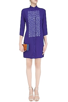Blue Sequins Embellished Shirt Dress by Anand Bhushan