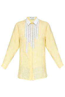 Yellow and White Sequins Embellished Shirt by Anand Bhushan