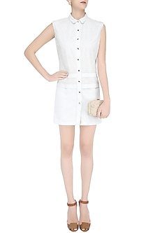 White Mesh Knitted Shirt Dress by Anand Bhushan
