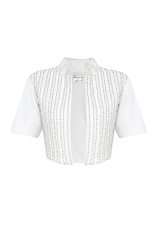 White Sequins Embellished Front Open Bolero by Anand Bhushan