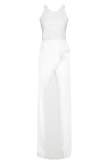 White Sequins Embellished High Low Drape Dress by Anand Bhushan