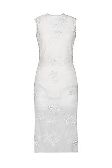 White Net Dress with Neoprene Swim Suit