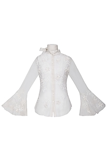White Embroidered Tie Up Top by Anand Bhushan