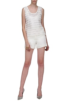 White Sequinned Leather Top by Anand Bhushan