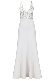 White Embroidered Neoprene Gown by Anand Bhushan