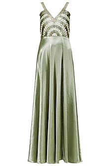 Green Embroidered Satin Thigh High Slit Gown by Anand Bhushan