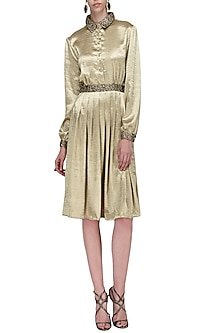Gold Satin Knee Length Dress by Anand Bhushan