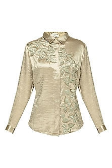 Gold Floral Embroidered Satin Shirt