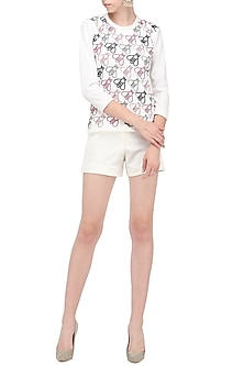 White Bee Print Top by Anand Bhushan