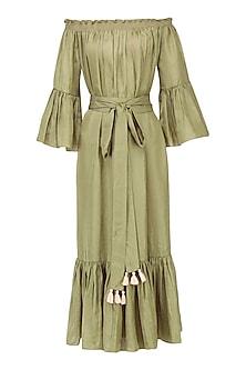Olive Off Shoulder Dress