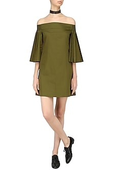 Military Green Off Shoulder Dress by Ankita