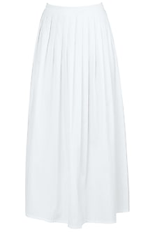 White A-Line Pleated Midi Skirt