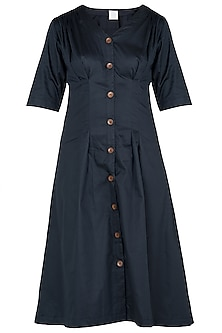 Navy Blue Button Down Pleated Midi Dress